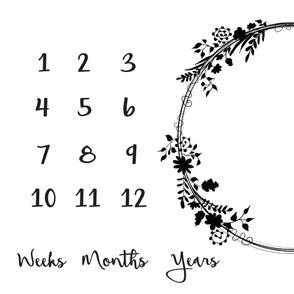 Milestone Flower Wreath growth Blanket