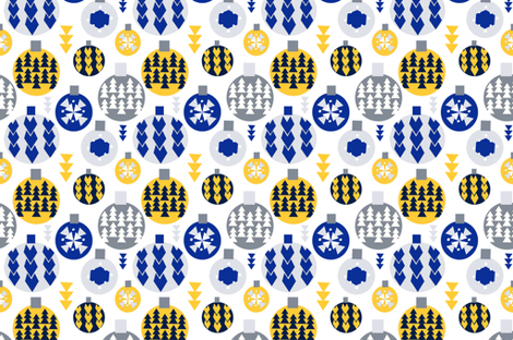 Winter ornaments  fabric by greenrainart on Spoonflower - custom fabric