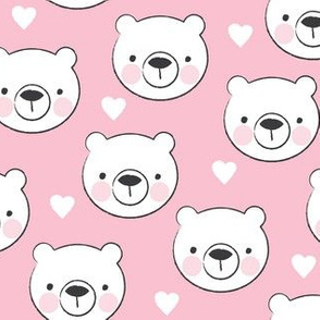 bear-faces-with-hearts-and-pink-cheeks-on-pink