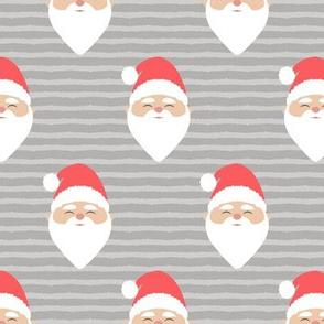santa on stripes - grey