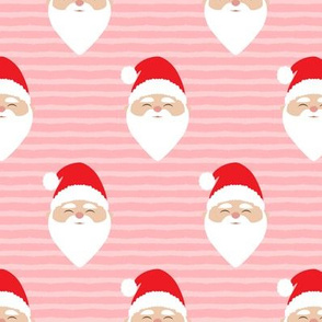santa on stripes - pink