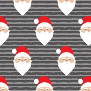 santa on stripes - dark grey