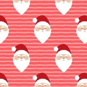 santa on stripes - red