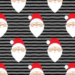 santa on stripes - black