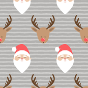 santa and rudolph - grey stripes