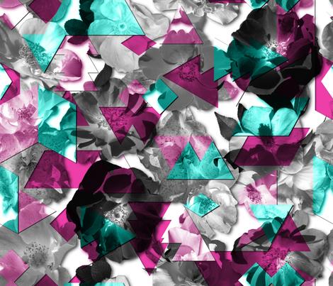 Broken Wild Roses Aqua fabric by wickedrefined on Spoonflower - custom fabric