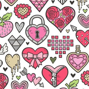 Hearts Doodle Valentine Love Red & Pink