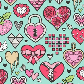 Hearts Doodle Valentine Love Red & Pink on Mint Green