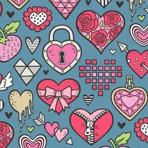 Hearts Doodle Valentine Love Red & Pink on Dark Blue Navy