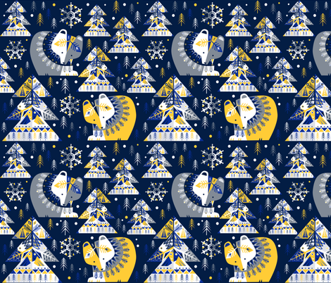 geometricwinter in blue by Gaia Marfurt on Spoonflower