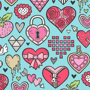 Hearts Doodle Valentine Love Red & Pink on Blue
