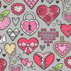 Hearts Doodle Valentine Love Red & Pink on Grey