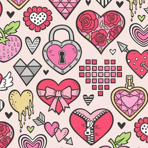 Hearts Doodle Valentine Love Red & Pink on Peach