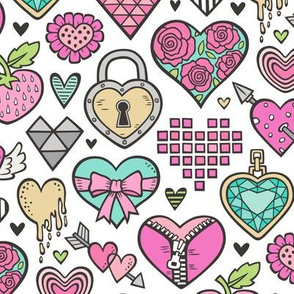 Hearts Doodle Valentine Love Pink & Mint Green Yellow