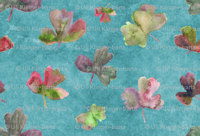 aquilegia leaves on turquoise