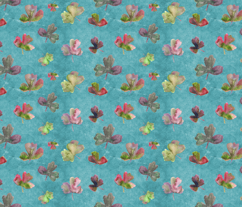 aquilegia leaves on turquoise fabric by larilou-art on Spoonflower - custom fabric