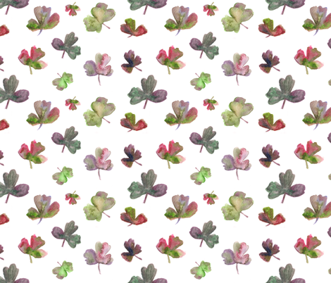 aquilegia leaves on white fabric by larilou-art on Spoonflower - custom fabric