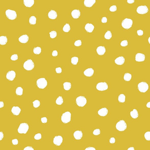 White dots on mustard / nursery baby kids simple design
