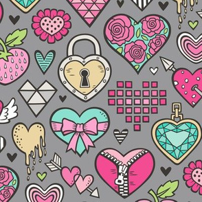 Hearts Doodle Valentine Love Pink & Mint Green Yellow on Dark Grey