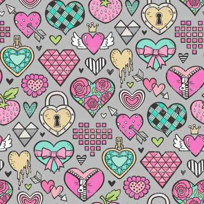 Hearts Doodle Valentine Love Pink & Mint Green Yellow on Grey