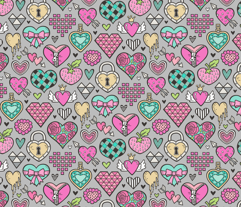 Hearts Doodle Valentine Love Pink & Mint Green Yellow on Grey fabric by caja_design on Spoonflower - custom fabric