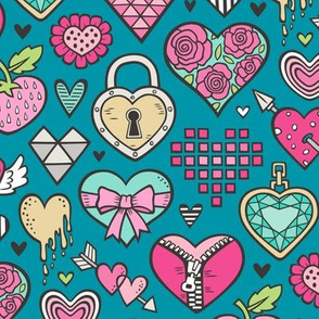 Hearts Doodle Valentine Love Pink & Mint Green Yellow on Blue