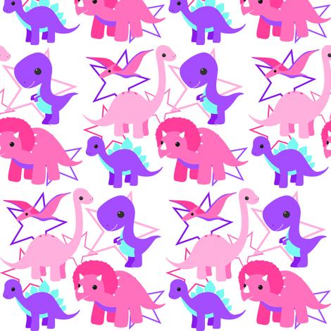 Dinosaurs and stars light fabric by nagorerodriguezdesign on Spoonflower - custom fabric