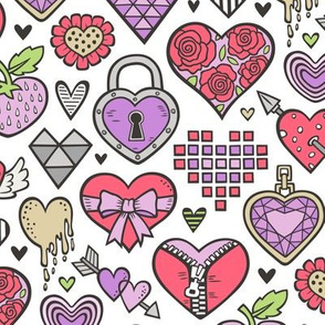 Hearts Doodle Valentine Love Red & Purple
