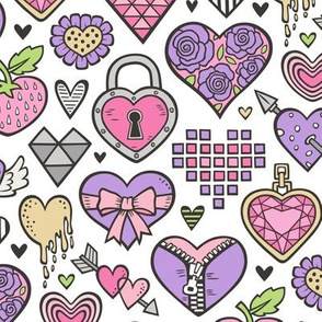 Hearts Doodle Valentine Love Pink & Lilac Purple