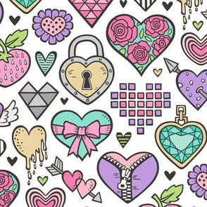 Hearts Doodle Valentine Love Pink & Lilac & Mint Green