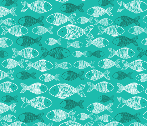 Fishes - Turquoise Background fabric by danidigennaro on Spoonflower - custom fabric
