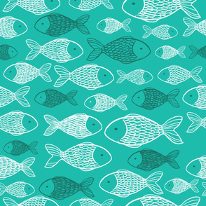 Fishes - Turquoise Background
