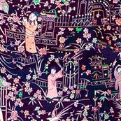 Pagoda Garden Peacocks Men and Women asian