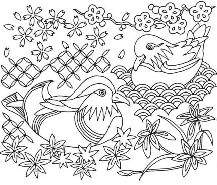 A Couple of Mandarin Ducks fabric by prayer_birds on Spoonflower - custom fabric