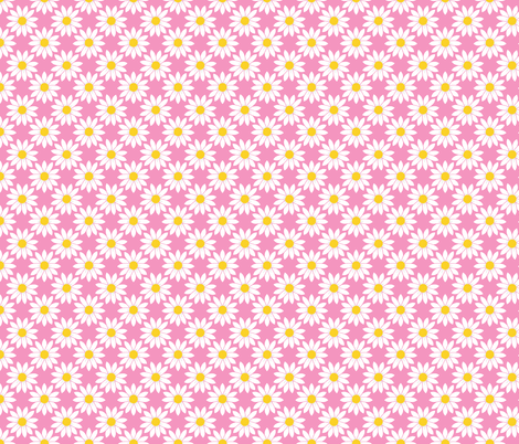 Daisies in Pink fabric by thewellingtonboot on Spoonflower - custom fabric