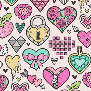 Hearts Doodle Valentine Love Pink & Mint Green Yellow on Peach
