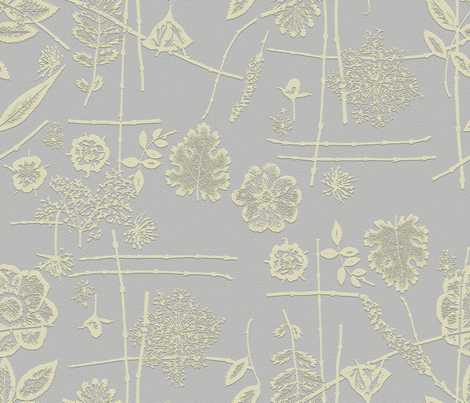 Asian Grey and Yellow Garden fabric by mypetalpress on Spoonflower - custom fabric