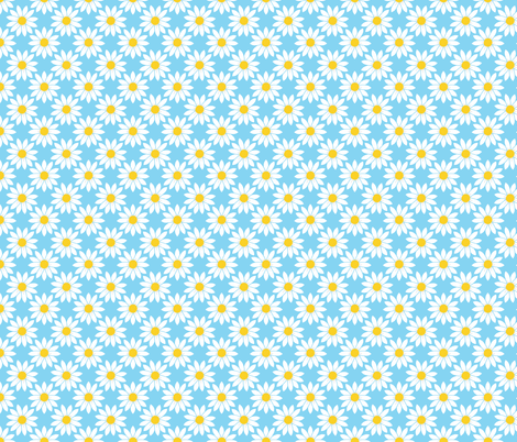 Daisies in Blue fabric by thewellingtonboot on Spoonflower - custom fabric