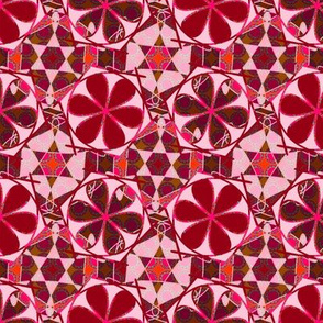 red and pink abstract flowery tiles