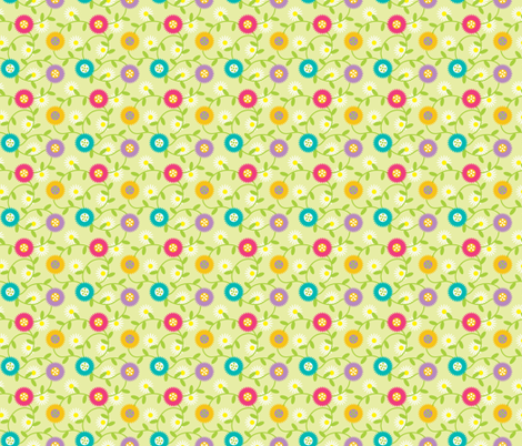 Cheery Mod Spring Flowers on Celery, Daisies, Retro Botanicals fabric by galleryinthegardendesigns on Spoonflower - custom fabric