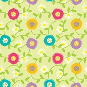 Cheery Mod Spring Flowers on Celery, Daisies, Retro Botanicals