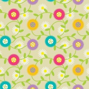 Modern Spring Flowers on Beige, Daisies and Marigolds, Polish Folk Style Botanicals