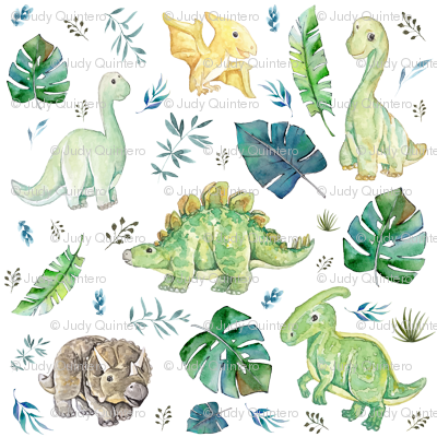 "8"" Green & Blue Baby Dinosaurs / White"