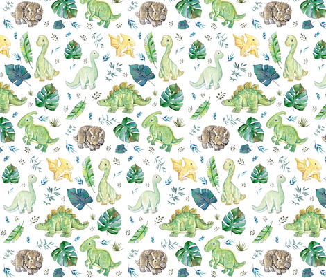"8"" Green & Blue Baby Dinosaurs / White fabric by shopcabin on Spoonflower - custom fabric"