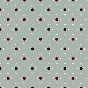 dots and diamonds in red and gray
