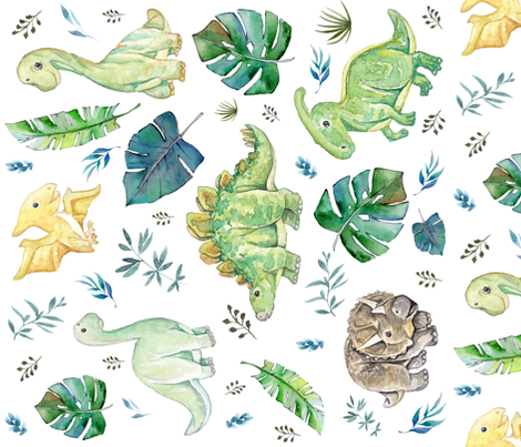 36 green blue baby dinosaurs white 90 degrees for Baby dinosaur fabric