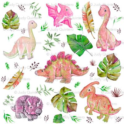 "8"" Retro Colors / Pink & Green Dinos"