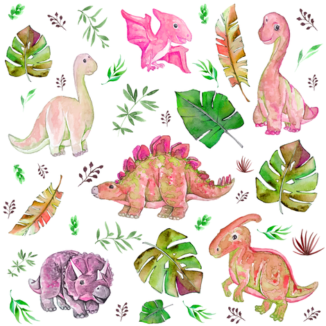 """8"""" Retro Colors / Pink & Green Dinos fabric by shopcabin on Spoonflower - custom fabric"""