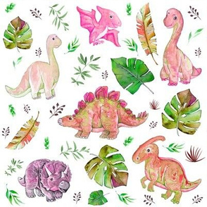 "8"" Retro Colors / Pink & Green Dinos"