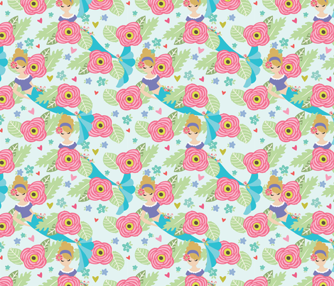 Mermaid Flowers fabric by julie_nutting on Spoonflower - custom fabric